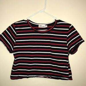 Black, white, and red crop top